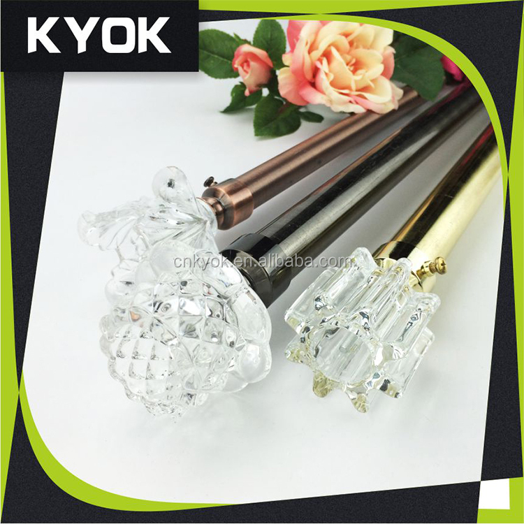 crystal home deocorated glass finial for curtain rods