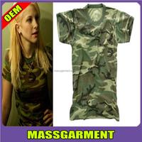 factory custom women polyester/cotton dry fit camo t-shirt short/long sleeve wholesale