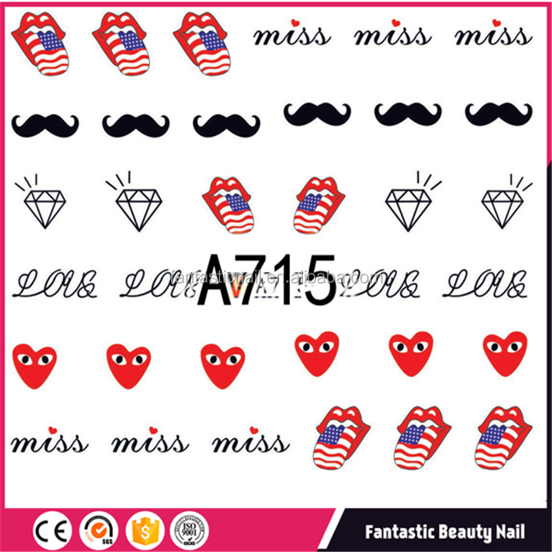 Colorful Sexy tips designs American style of water transfer printing film nail art