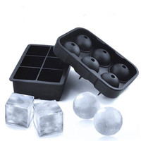 BPA free Silicone Ice Cube Tray Set of 2 Black Silicone 6 Giant Ball Maker Use