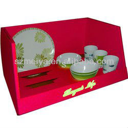 Practical and durable floor cardboard corrugated counter top display case for tea cup,bowl,dish,plate,tableware,dinnerware