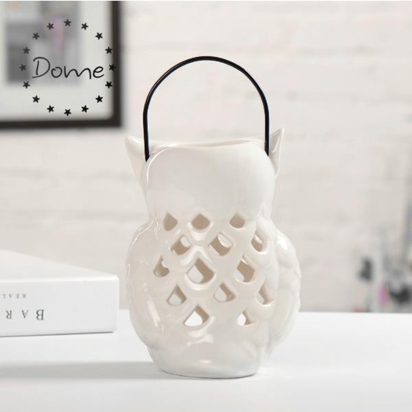 Home decoration white glazed ceramic owl tealight candle holder