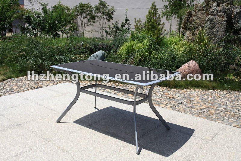Outdoor glass table aluminum table picnic table