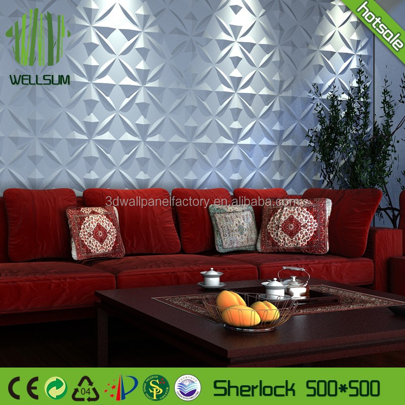 Bamboo fiber sound proof 3d wall panel art for home decoration