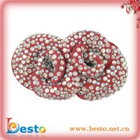 SF0195 New design ladies red leaher shoe part for decoration