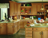 New design Kitchen Cabinet Solid Wood Kitchen Cabinet with Glass Door