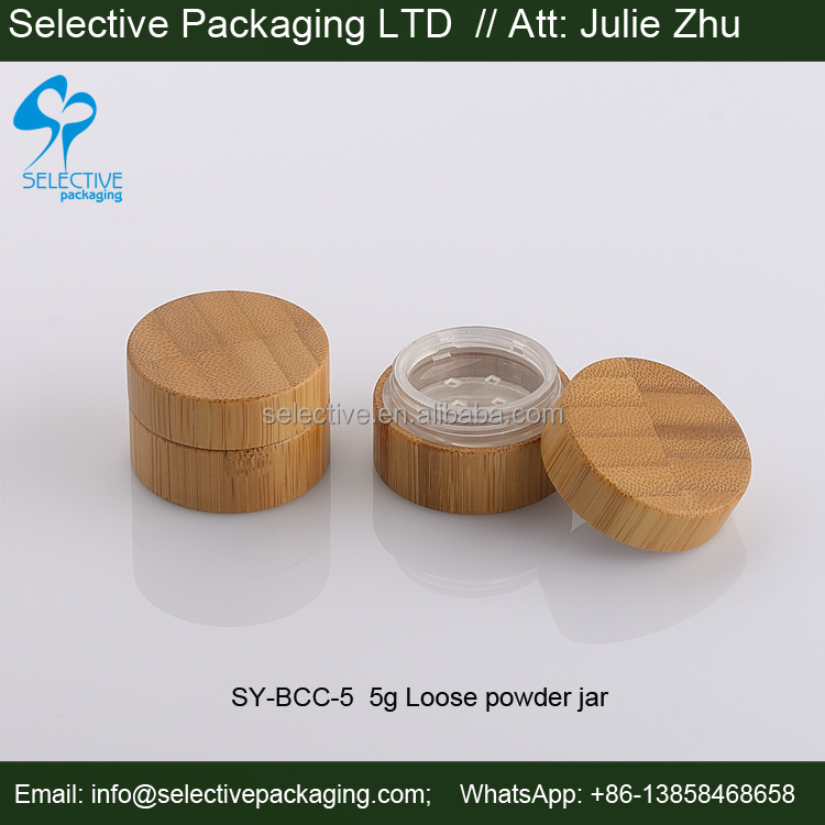 bamboo packaging wood makeup container 5g loose powder sifter jars