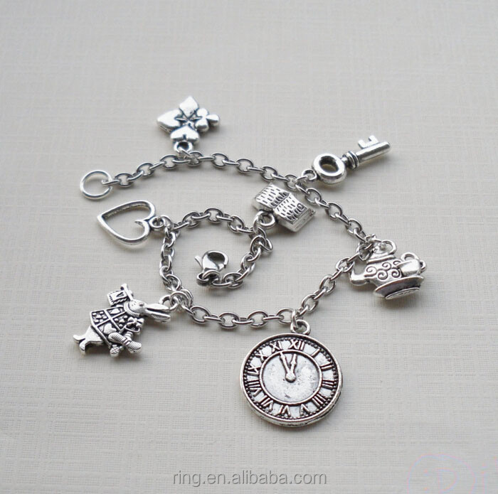 Alice in Wonderland Inspired Bracelets for Women Fairy Tales Bracelet Rabbit Deer Clock Book Heart Key Flower Teapot Bracelets