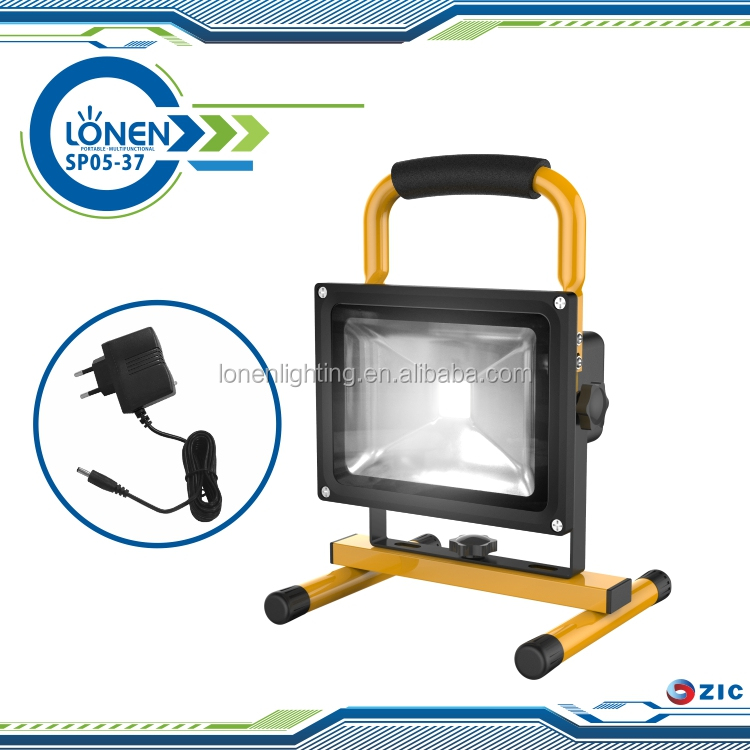 LONEN high bright COB emergency warning light portable outdoor solar li-ion battery rechargeable 20w led flood light
