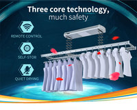 Wireless remote control electric laundry room clothes drying rack