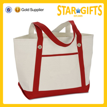 large colored handles women over the shoulder grocery canvas bag