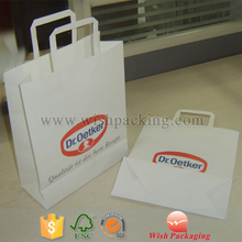 Doctor falt handle high quality pulp white kraft paper bag