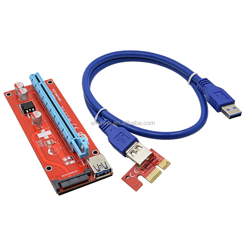 2017 Professional VER007S 0.6M PCI-E 1X to 16X Riser Card Extender PCI Express Adapter + USB 3.0 Cable / 15Pin SATA Power Supply
