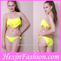 Wholesale Yellow Tassel Beauty Very Very Sexy Hot Bikini