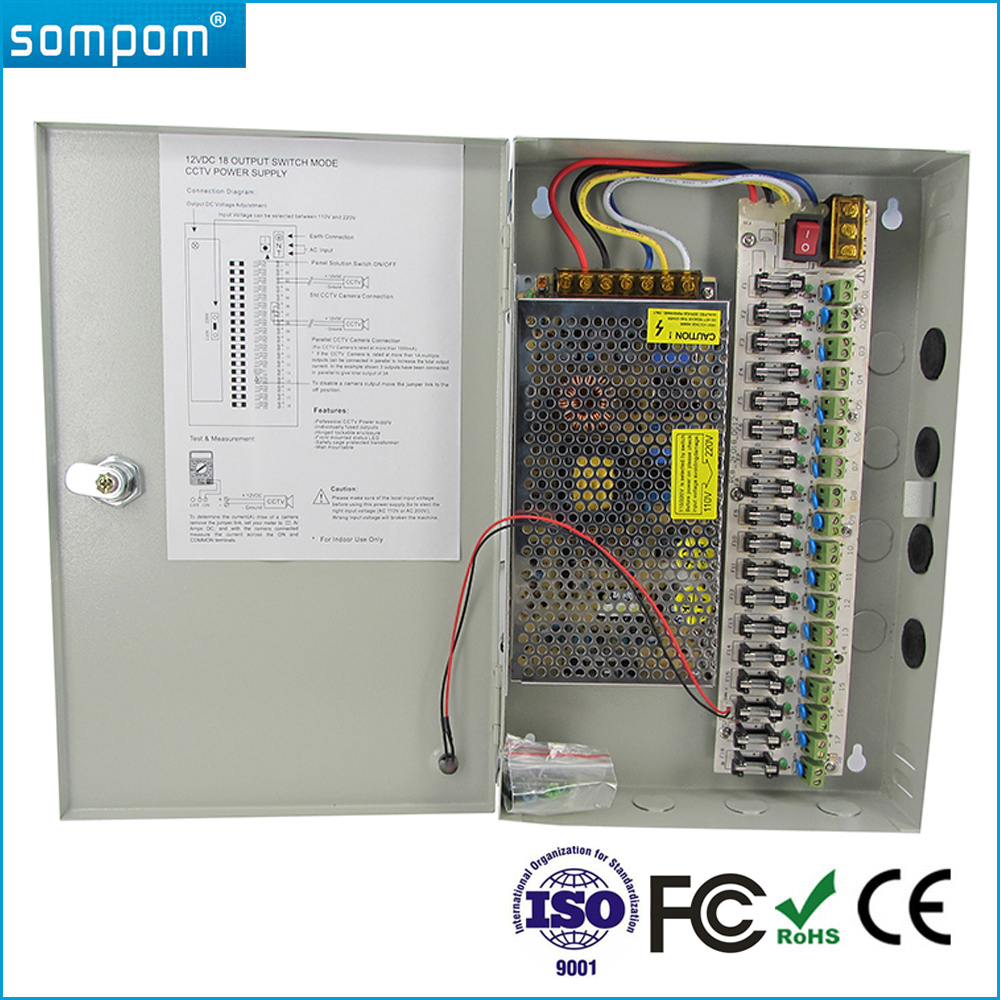 Hottest Sompom 120W CCTV Power Supply 18 Channels 12V 10A 18CH