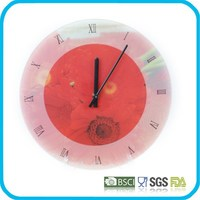 Round tempered glass clock for wall