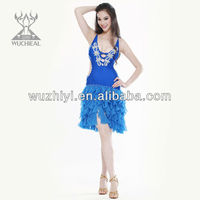 fashion and modern tassels sexy colorful beaded ballroom latin dance dress (QC2096)