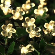 Christmas solar outdoor holiday artificial flower warm white led cherry blossom tree light