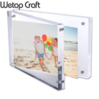 Clear Acrylic Magnetic Photo Frame block 5x7, Double Sied Thick Desktop Acrylic Magnet Picture Frames