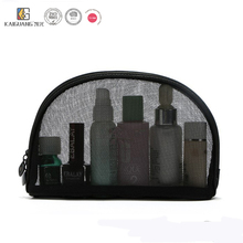Black small Mesh bag half round transparent three-piece cosmetic bags