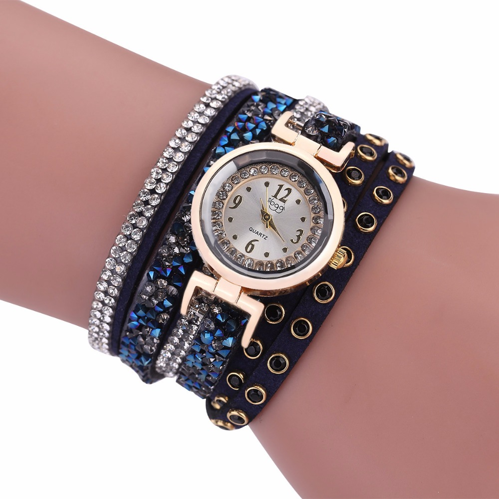 new fashion vogue leather crystal wrap bracelet wrist women watch lady quartz watch