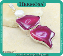 Newly Products Pink Druzy Agate 925 Sterling Silver Pendant M9596 Gifts For Best Friends