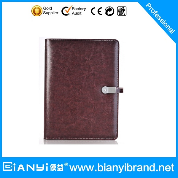 PU Leather power bank notebook/leather note book with power bank inside