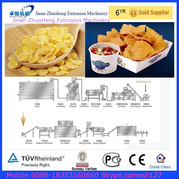 Full Automatic Rice Snacks Machine Corn Flakes Production Line