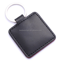 promotional key chain metal / leather promotion key ring