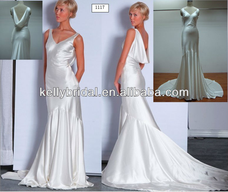 1117 real of picture elegant 100% real silk wedding dress