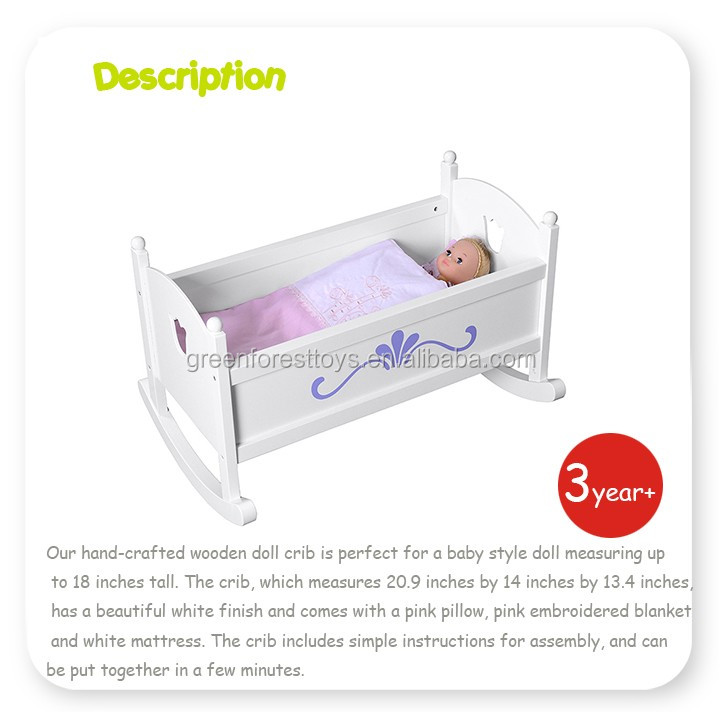 New MDF Portable Wooden Doll furniture Doll Cradle for Kids pretending play Crib Doll Furniture