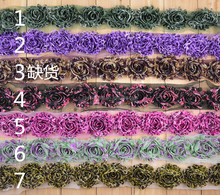 multicolor and solid print petti Shabby Chiffon Chic Flower Trim handmade fabric flowers for Headbands
