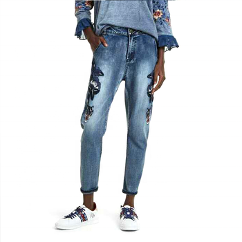 sequins embroidery nine-cent ankle-length straight jeans