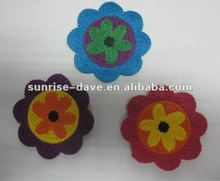 decorative cotton flower for kid's shoes and sweater