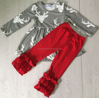 best selling christmas items grey deer head dress matching red pants toddler boutique clothes deer patterns