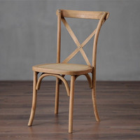 wood natural X cross back chair vintage style