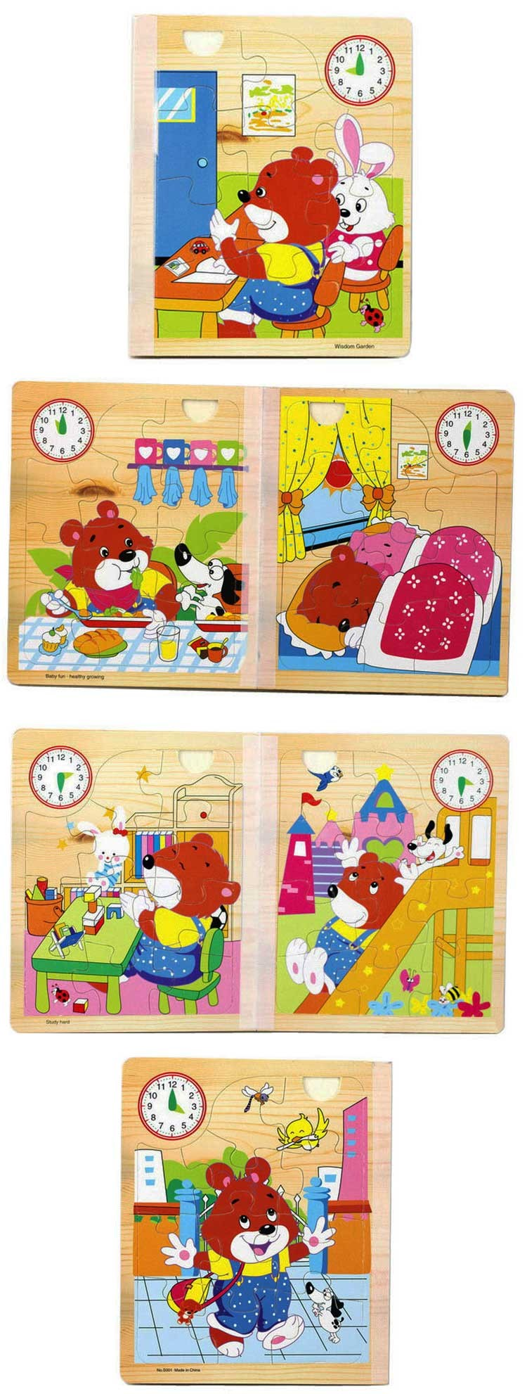 New Style Jigsaw Puzzle Colorful Cartoon Educational Board Game For Babies Little Bear