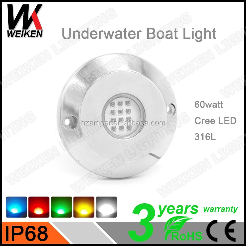WEIKEN ip68 12 volt 60 watt underwater led lights for fountains submersible led marine lights