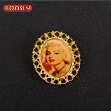 Special Gold Plated women Custom Made Brooches Photo Frame Shape Brooch