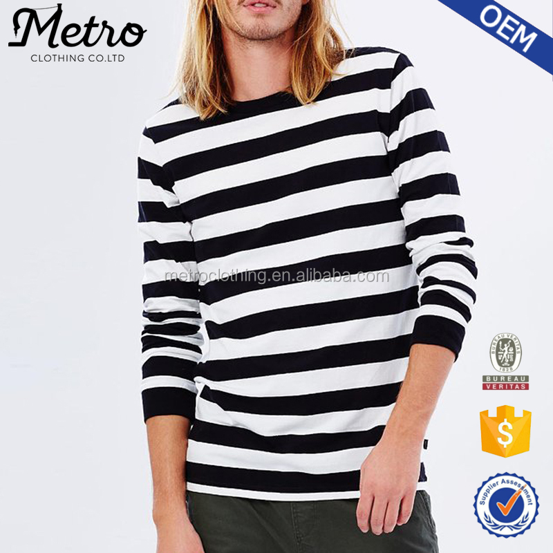 2017 Fashion Men's White And Blank Stripe Long Sleeve T-shirt