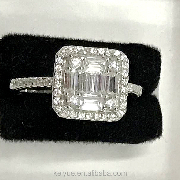 Classic big cushion cut square cz stone rings designs thailand for women