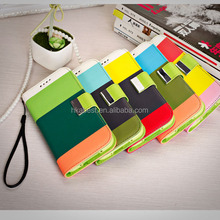 Rainbow design leather cover mobile phone case for samsung galaxy S5 i9600, phone cover case high quality can print custom LOGO