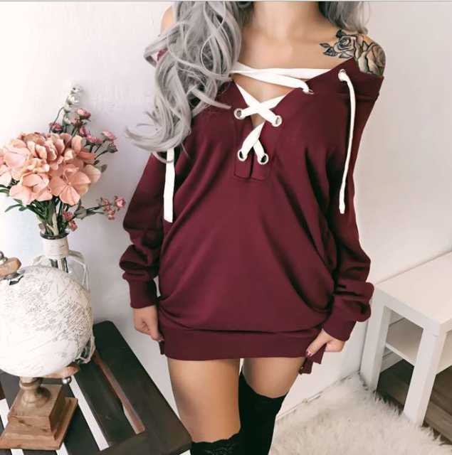 lx20216a fashion v neck shirt women off shoulder tops midi pattern hoodies without hood