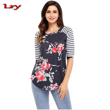 New autumn Apparel large-size women's 7-sleeve round collar Hydra Floral blouses of different style