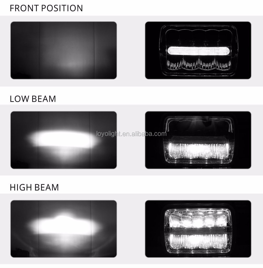 Great lighting 5inch 45w 4000lumen high low beam 4x6 inch led headlight with DRL