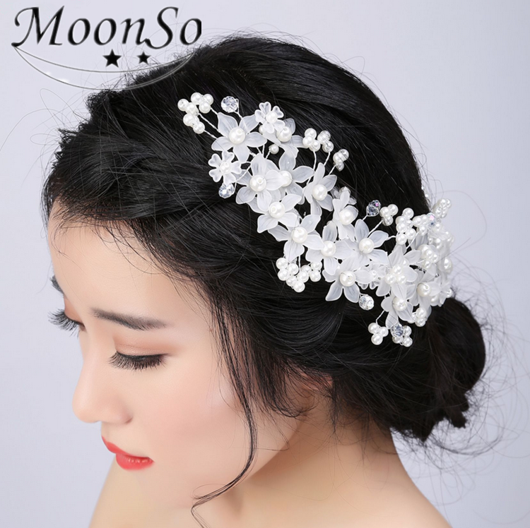 2016 NEW Women's Hair Jewelry Wedding Flower Pearl rhinestone Bead Hair Comb Hair Pins Bridal Accessories Jewelry MoonSo AH5732