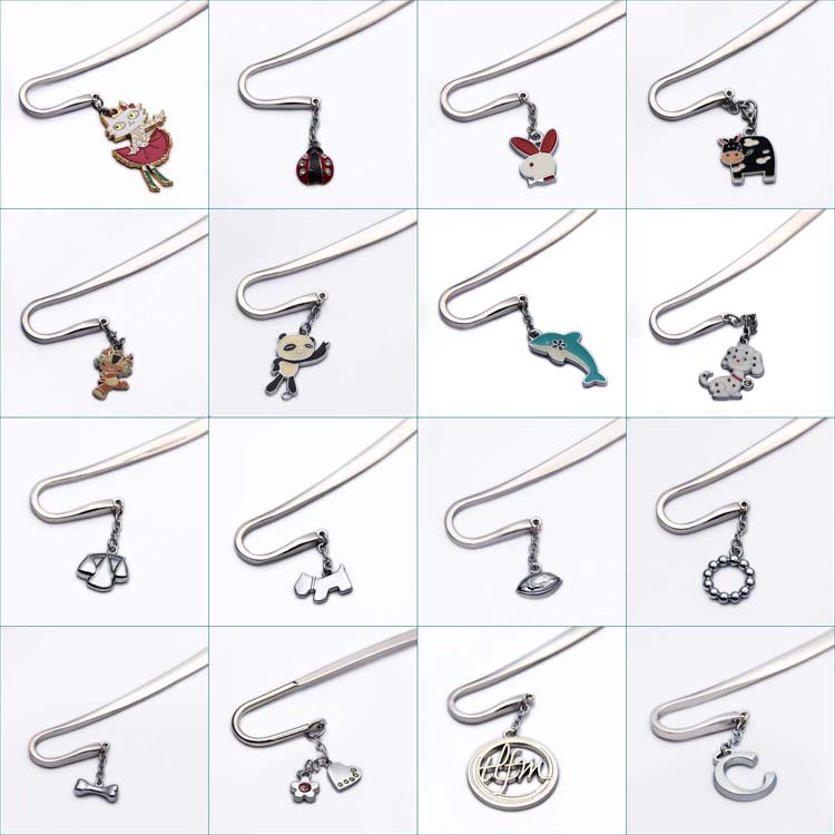 Wholesale promotion metal pendant custom bookmark