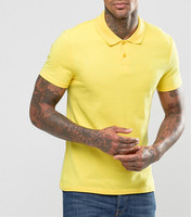 Hot Sale Men Blank Polo Shirt Solid Color Muscle Pique Polo Shirt In Yellow