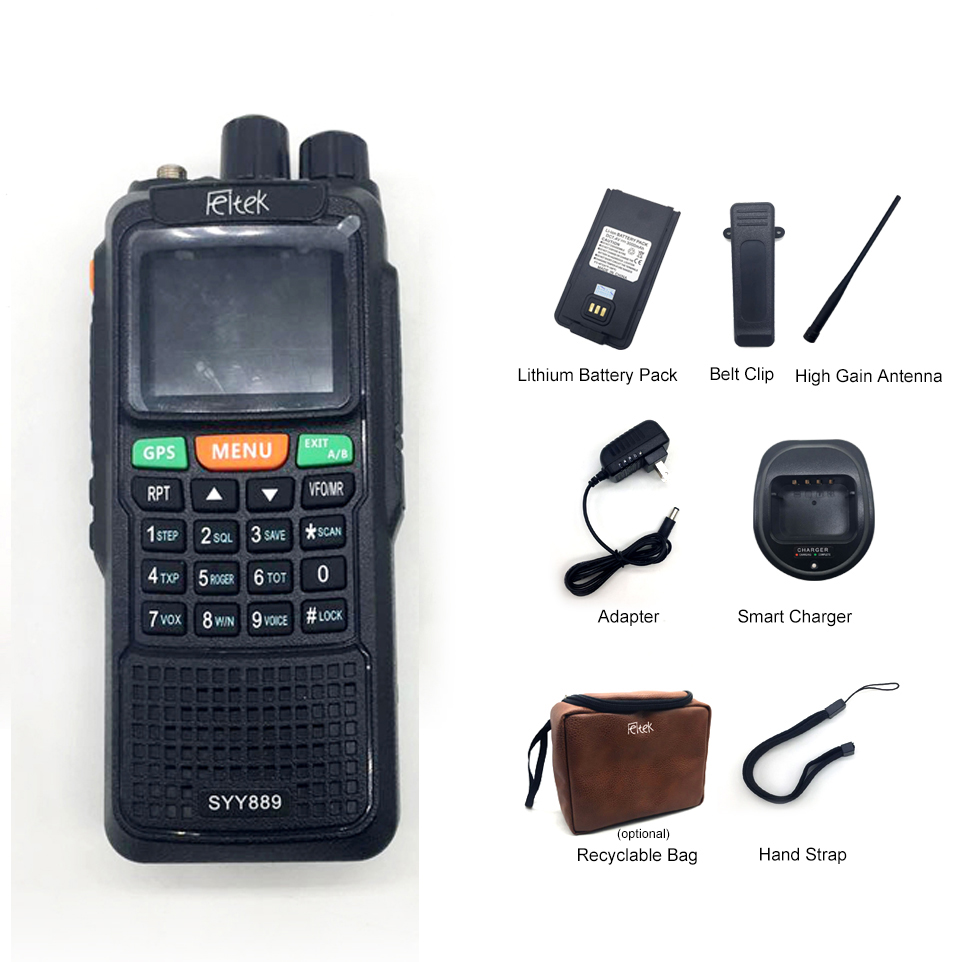 Portable belt clip walkie talkie keyboard with GPS location measuring distance FM radio