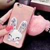 Rabbit Fur Ball tassel Ear Support Crystal Cover Luxury 3D diamond bling Soft TPU case for iphone 6 Plus 5 .5inch